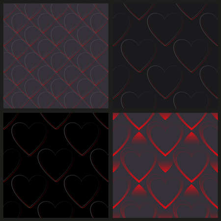 Set of seamless vector pattern of red and gray gradient hearts on a dark background