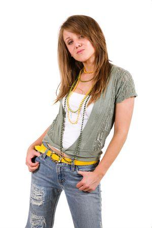 fashion model on white background photo