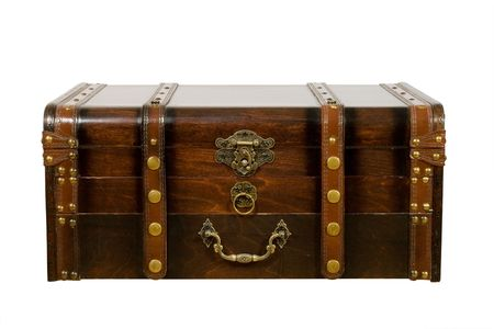 gold treasure: Old ancient chest isolated on white background Stock Photo
