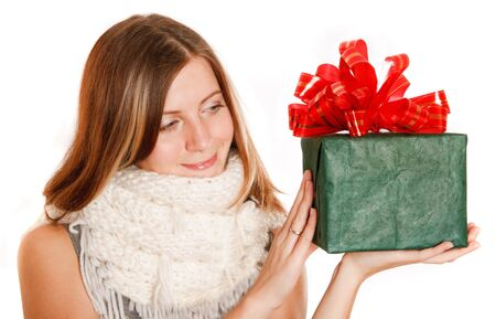 winter girl with green box gift photo