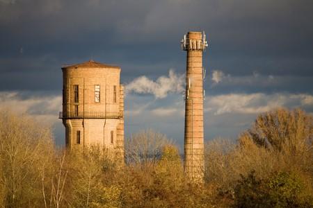 smoke stack: Smoke Stack. Industry town Stock Photo