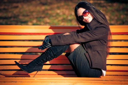 fashion model on the bench Stock Photo