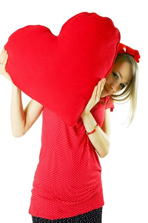 Beauty woman with heart Stock Photo - 4215311