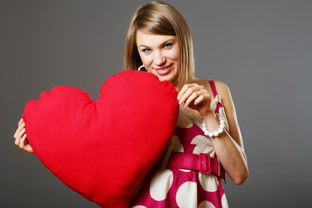Beauty woman with heart photo