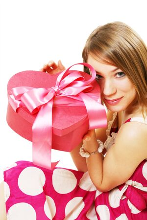 happy young girl with gift photo