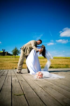 dance of a newly married couple Фото со стока