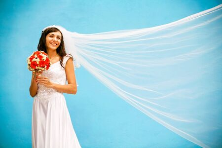 the bride with a wedding bouquet photo