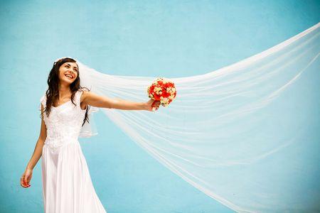 Braut mit einer Hochzeit Bouquet