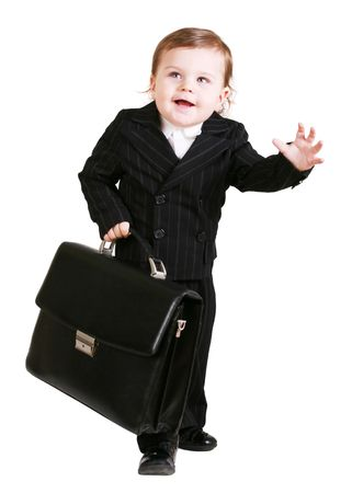 baby in suit: Little boy with suitcase over white