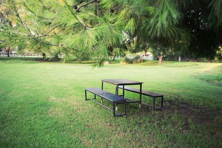 Picnic table in beautiful park photo