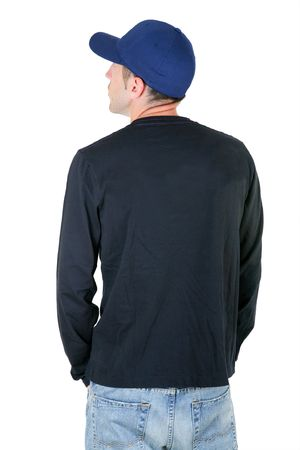 man from the back - looking at something