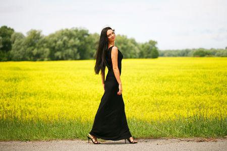 gorgeus: Walking beautiful young woman Stock Photo