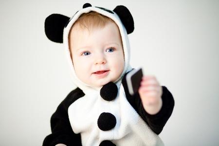 Baby in panda costume photo