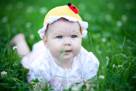 Adorable baby girl outdoors in the grass photo