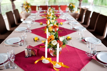 Wedding flowers - tables set for wedding Stock Photo - 11678203