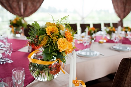 Wedding flowers - tables set for wedding Stock Photo - 11678170