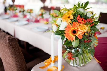 Wedding flowers - tables set for wedding Stock Photo