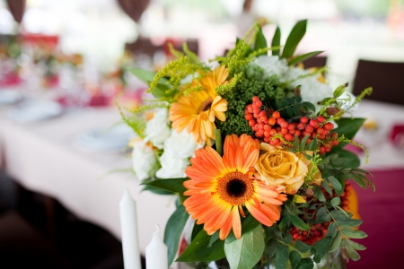 Wedding flowers - tables set for wedding Stock Photo - 11678140