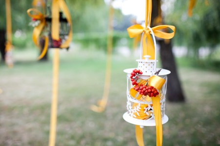 decorated wedding tree and candles