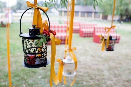 outdoor event: decorated wedding tree and candles
