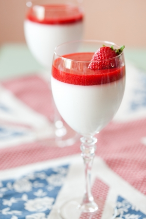 panna cotta dessert with strawberry sirup photo