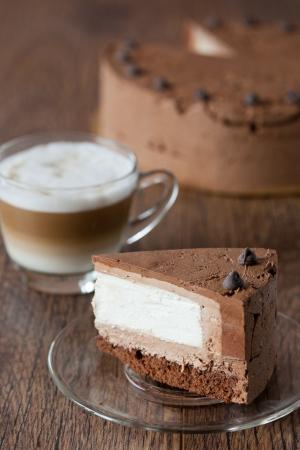 Piece of triple chocolate cake Stock Photo - 14193081