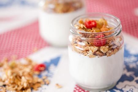 delicious and healthy yogurt with granola photo