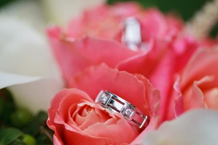 Beautiful wedding rings on the flowers photo