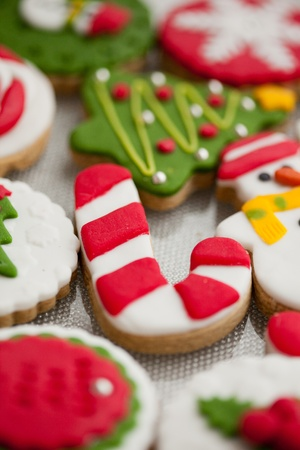 many christmas baubles: Homemade christmas cookies - gingerbread