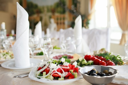 catering service: tables set for wedding