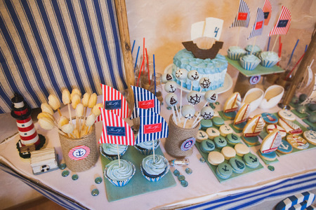 baby shower party: Dessert table in marina style