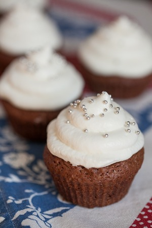 frosting': Chocolate cupcakes with white cream cheese frosting