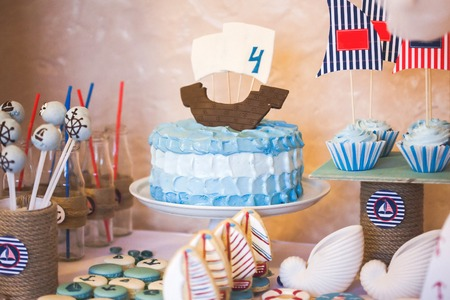 ombre cake: Dessert table for a party in marina style Stock Photo