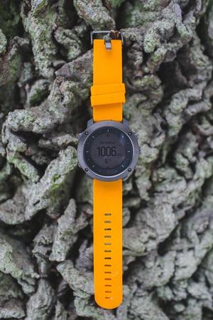 Close up of Fitness tracker runner wearing sport smart watch