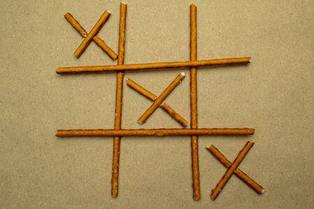Game Tic Tac Toe from Pretzel Sticks