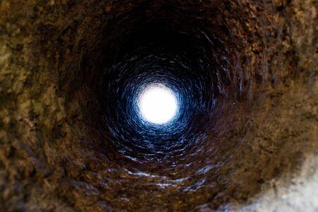 Close-up of a hole in a granite stone