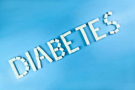 Diabetes written in sugar cubes. World diabetes day concept Stock Photo