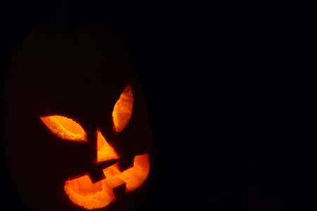 Glowing pumpkin for halloween night in the dark light of darkness