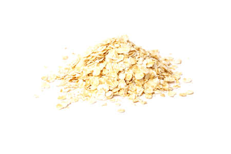 rolled oats isolated on white background. healthy food concept