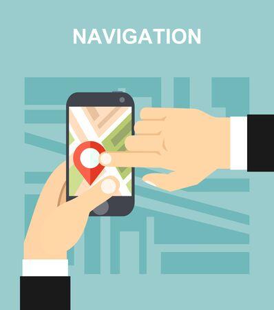 gps navigator: GPS navigator. Modern flat design illustration. Illustration