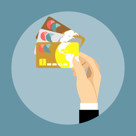 bussiness card: Hand holding credit card. Illustration