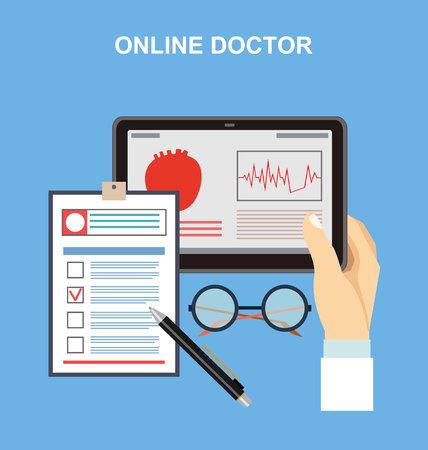 Online doctor. Vektorové ilustrace