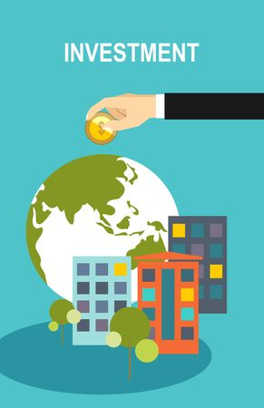globe illustration: Flat design business illustration concept Investment hand hold money coin for website and promotion banners.