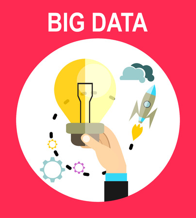 new ideas: big data and predictive analytics. Finding new ideas represented by light bulb.