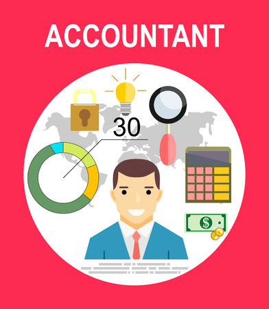 financial advisors: Accountant, businessman. Set icons flat design. Concept of accounting and calculation. Vector illustration. Man working with finances, reports, statistical, analysis, calculation of profit, income. Illustration