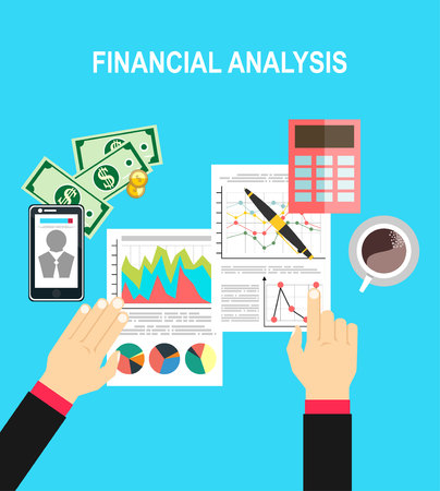 Financial calculations. Working process. businessman hands, calculator, financial reports, money, coins, pen, coffee cup. Top view. vector illustration in flat design on green background Illustration