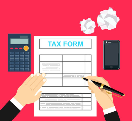 tax form: Man hands filling tax form. Hand hold tax form and hand hold pen. Modern concept for web banners, web sites, infographics. Creative flat design vector illustration