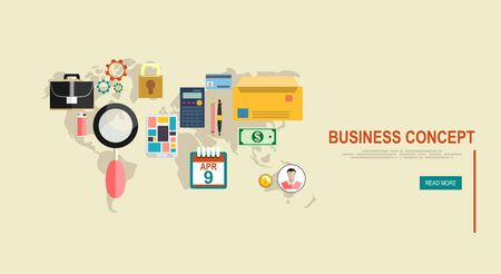 reputable: Business. Abstract background with connected gears and icons for strategy, service, analytics, research, seo, digital marketing, communicate concepts. Vector infographic illustration Illustration