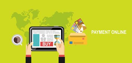 Set of flat design vector illustration concepts shopping online and payment online Illustration