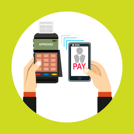 confirms: Nfc payment flat design style vector illustration, pos terminal confirms the payment using a smartphone